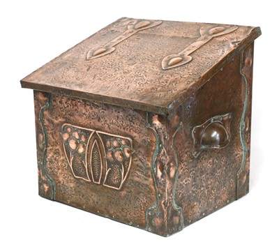 Lot 50 - An Arts and Crafts embossed coal box