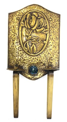 Lot 53 - A Scottish Arts and Crafts brass twin-light wall sconce