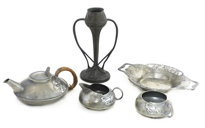 Lot 73 - A collection of Tudric pewter items