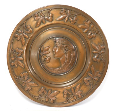 Lot 72 - A WMF embossed copper plaque