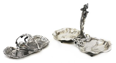 Lot 78 - An Art Nouveau silver-plated figural mounted double dish