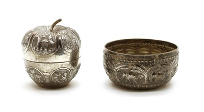 Lot 31 - A Burmese white metal box and cover