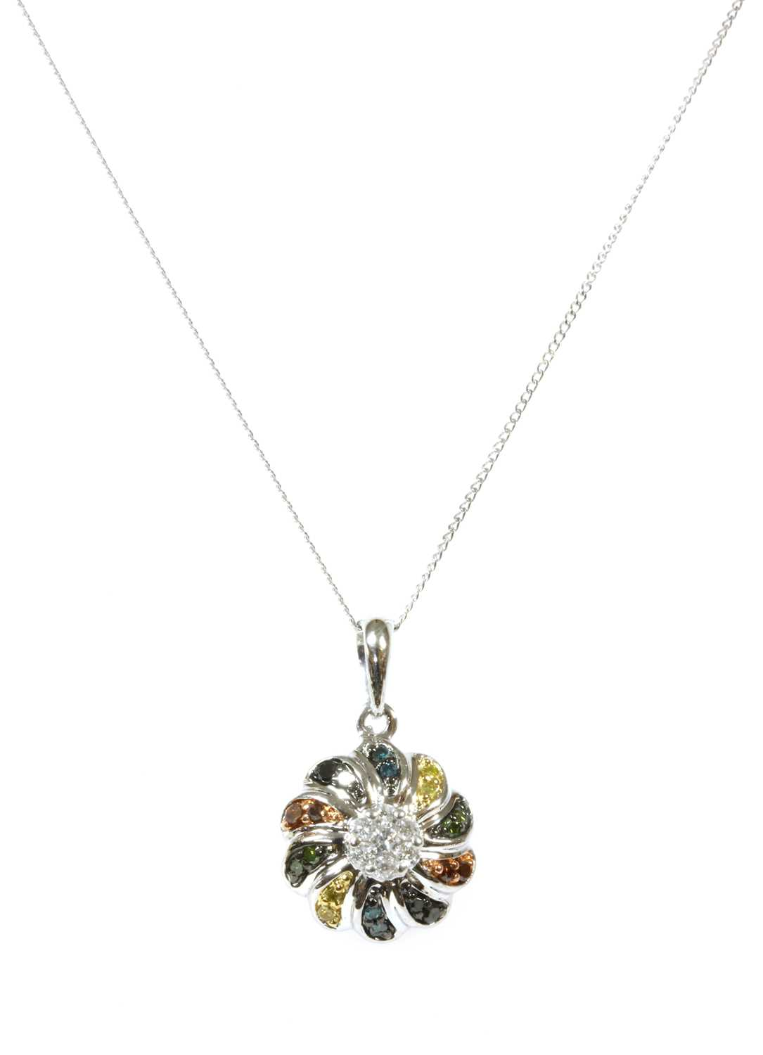 Lot 79 - A white gold diamond and fancy coloured diamond pendant