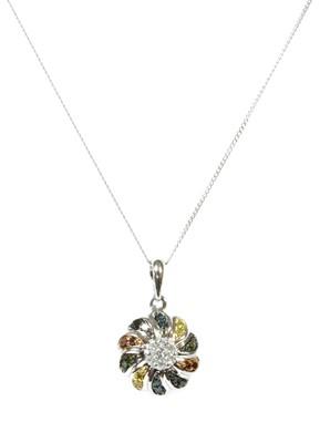 Lot 79 - A white gold diamond and fancy coloured diamond pendant