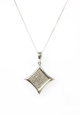 Lot 101 - A white gold diamond pendant