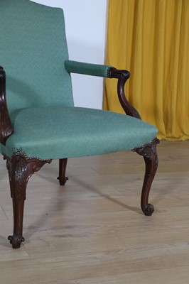 Lot A carved mahogany armchair