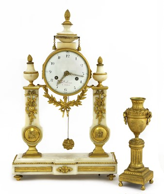 Lot 41 - A French rococo-style marble and gilt-bronze mounted portico clock