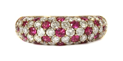Lot 107 - A gold ruby and diamond ring
