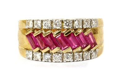 Lot 139 - A gold ruby and diamond ring