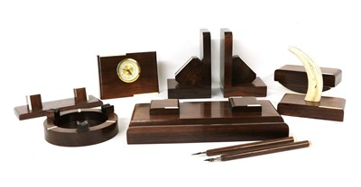 Lot 115A - A French Art Deco rosewood and ivory mounted desk set
