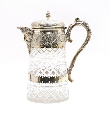 Lot 2 - A good late Victorian silver plated and cut glass lemonade jug
