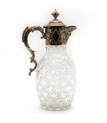 Lot 1 - A Victorian cut glass and silver plated claret jug