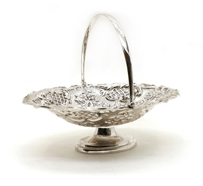 Lot 22 - A late Victorian embossed silver fruit basket