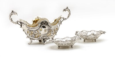 Lot 26 - A Victorian silver and glass Rococo style dish