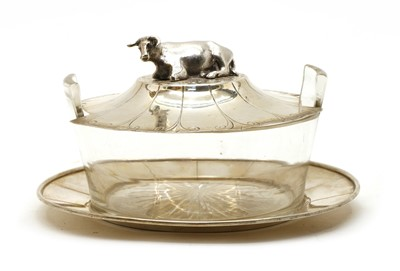 Lot 24 - A Victorian silver and glass butter dish cover and stand