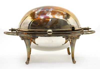 Lot 1 - Silver plated items to include, a 19th century warming dish with liner