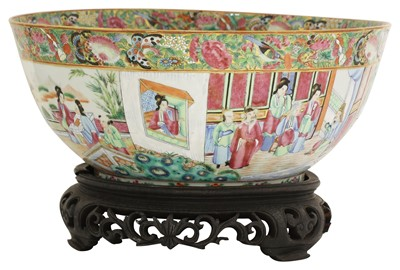 Lot 22 - A Chinese Canton enamelled famille rose punch bowl