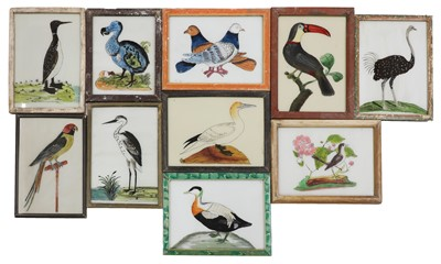 Lot 396 - INDIAN REVERSE GLASS PAINTINGS OF BIRDS