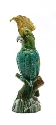 Lot 118 - A majolica cockatoo parrot
