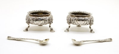 Lot 18 - A pair of Victorian silver open salts with spoons