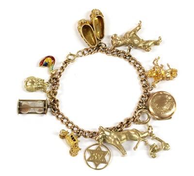 Lot 48 - A 9ct gold charm bracelet