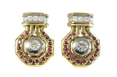 Lot 191 - A pair of 9ct gold diamond and ruby earrings