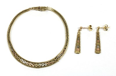 Lot 80 - A 9ct three colour gold brick link bracelet and earring suite, c.1980