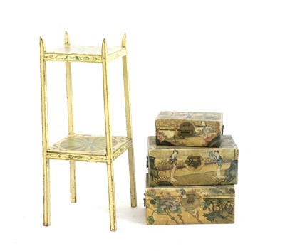 Lot 104 - Three painted vellum covered boxes