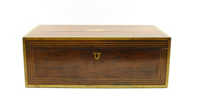Lot 50 - A 19th century campaign style rosewood and gilt brass mounted writing slope
