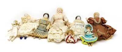 Lot 262 - A collection of small porcelain head dolls