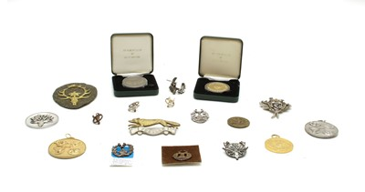Lot 73 - Eighteen various brooches, badges and medallions of stag hunting and stalking interest