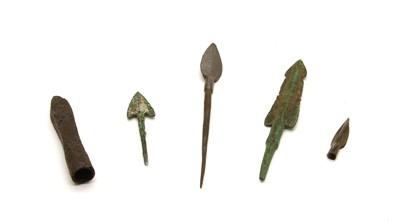 Lot 77 - Four ancient Persian bronze arrowheads