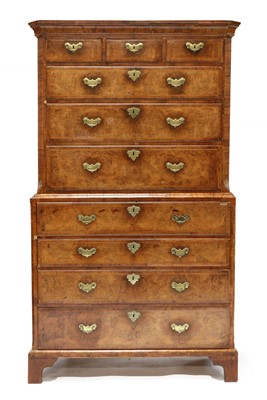 Lot 85 - A George I walnut secretaire chest on chest
