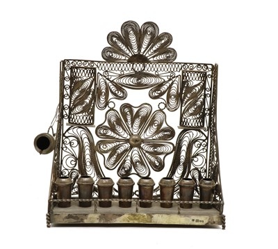 Lot 34 - An antique Russian silver filigree wirework Moudra