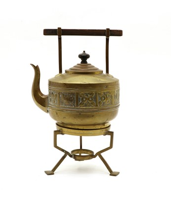 Lot 256 - An Aesthetic brass kettle on stand