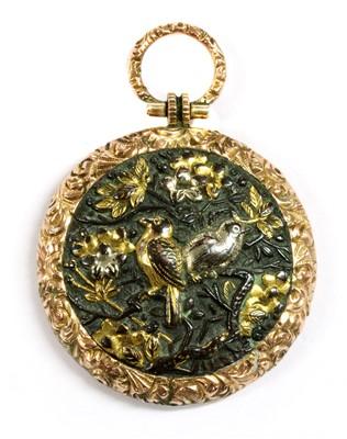 Lot 6 - A Victorian gold mounted shakudo memorial locket