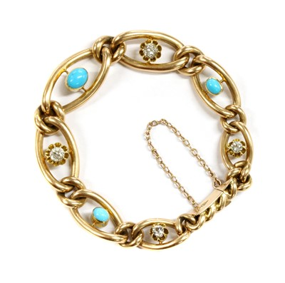 Lot 2 - A Victorian gold turquoise and diamond graduated curb bracelet