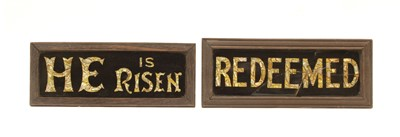 Lot 38A - Two reverse painted glass and mother of pearl church signs