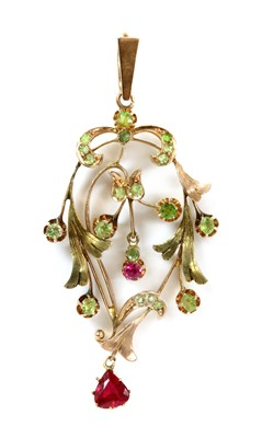 Lot 25 - A Russian gold demantoid garnet and synthetic ruby pendant