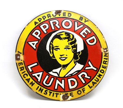 Lot 94 - A modern enamel advertising sign, Approve Laundry