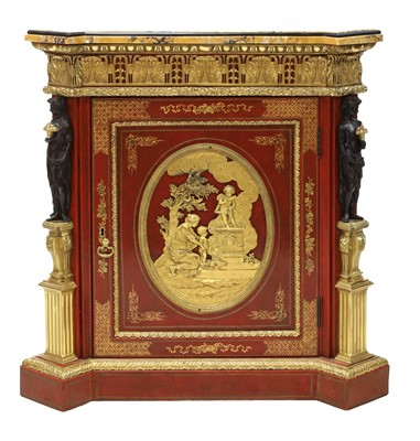 Lot 167 - A red-lacquered and ormolu-mounted pier cabinet