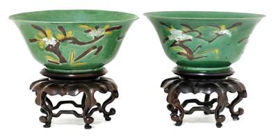 Lot 8 - A pair of Chinese sancai bowls