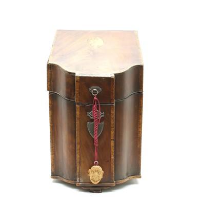 Lot 87 - A George III mahogany and crossbanded knife box