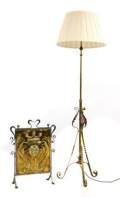 Lot 73 - A brass standard lamp