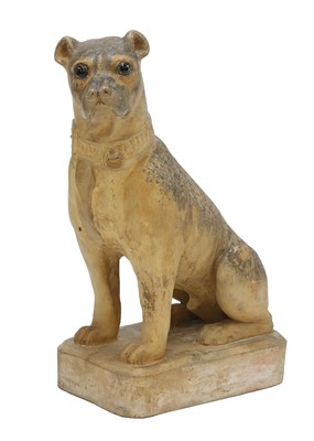 Lot 88 - A French terracotta model of a seated pug
