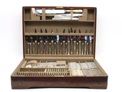Lot 25 - A mahogany canteen of silver plated cutlery