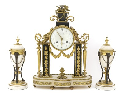 Lot 37 - A matched French ormolu and marble clock garniture