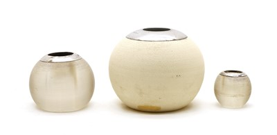 Lot 69 - A silver mounted spherical ceramic vesta