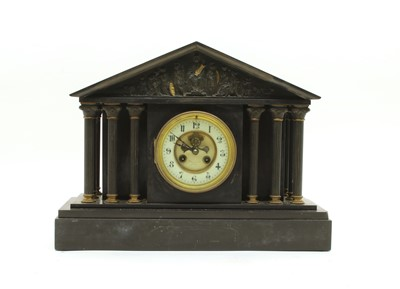 Lot 87 - A Victorian architectural slate mantel clock