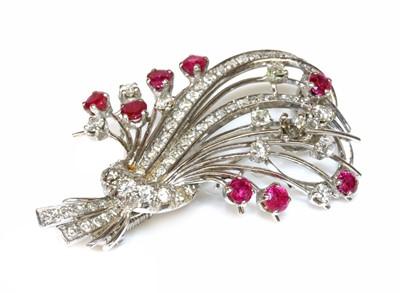 Lot 176 - A ruby and diamond spray brooch, c.1950